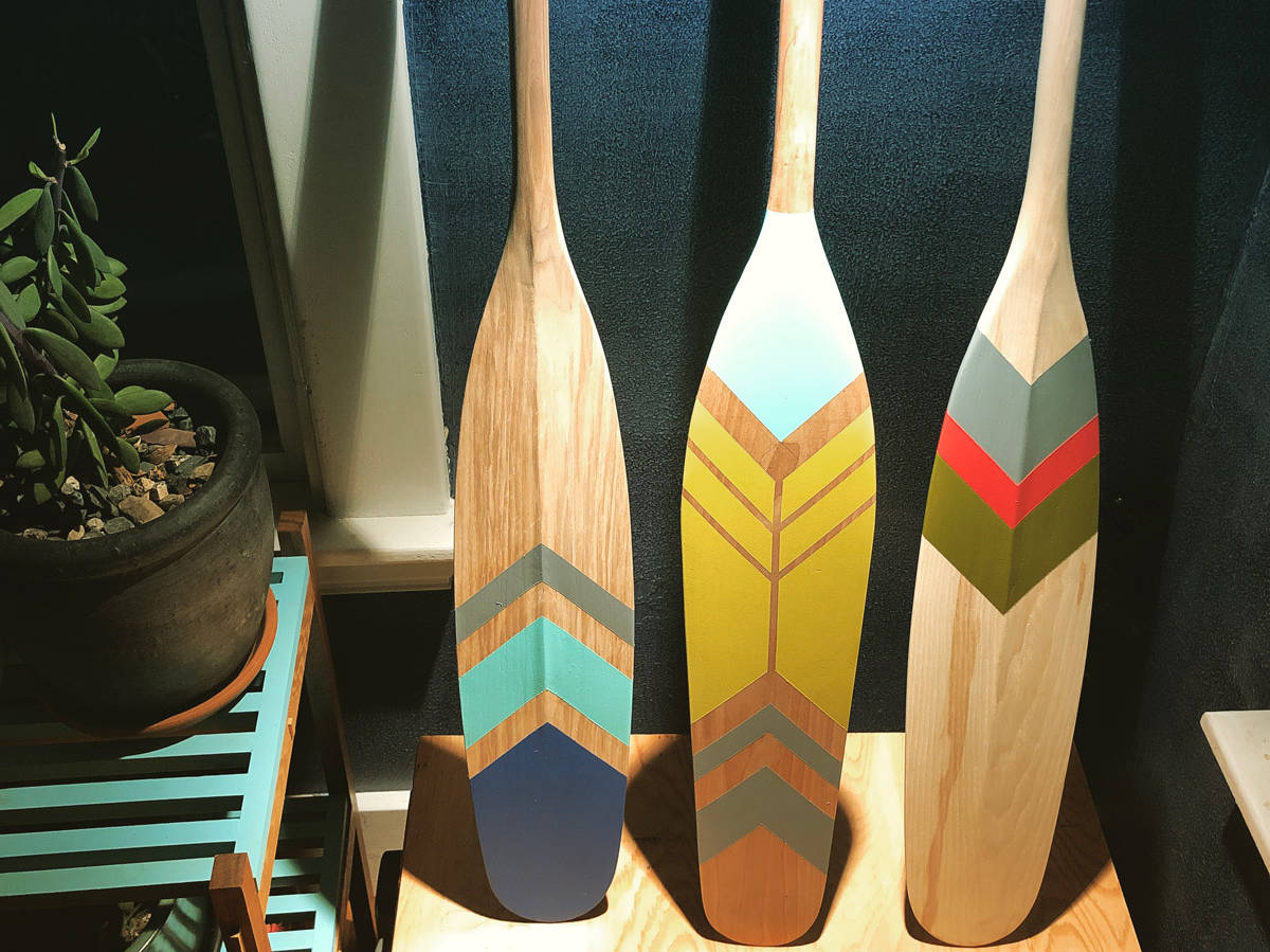 Wow, painted canoe paddles!