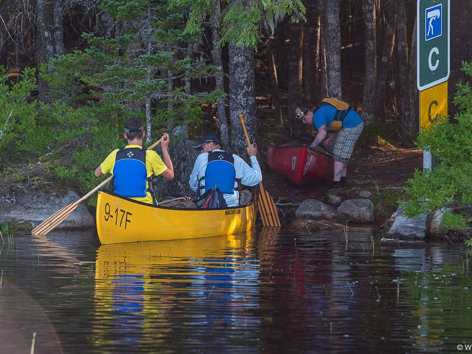 Preparing to portage deeper into the park.